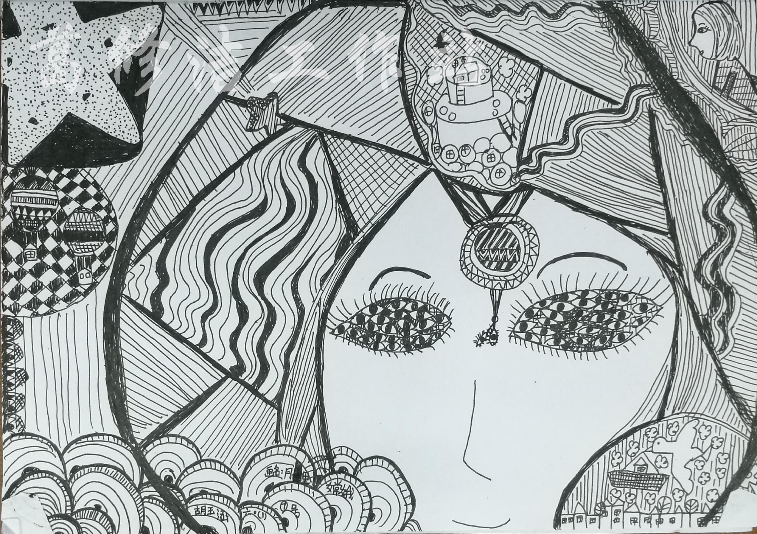 线描画中的黑白对比——中秋节习作一